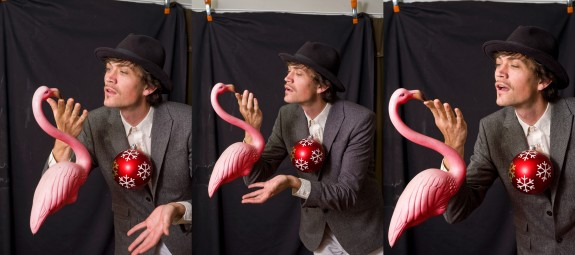 Miller recites poetry to a plastic flamingo.