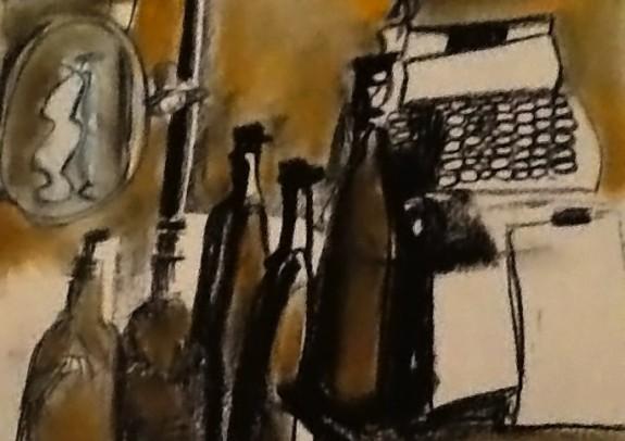 Bottles and typewriter