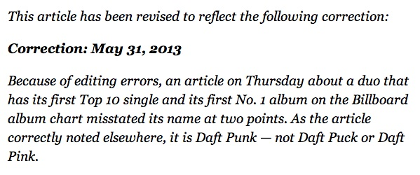 New York Times corrections