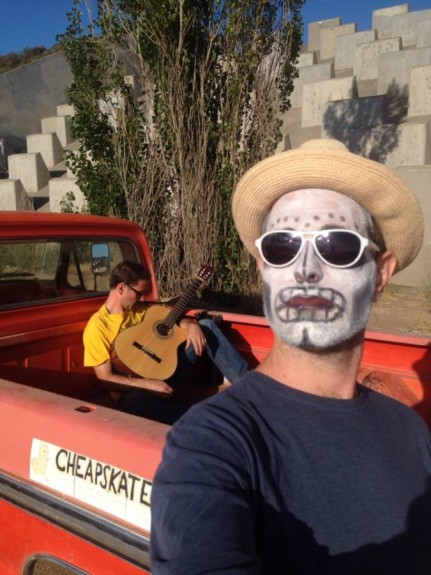 Karl in sugarskull paint, in our no-budget music video - Pyragraph