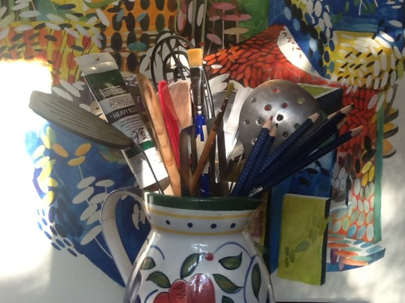 Set up your studio like a kitchen - all the spatulas, whisks and brushes in one place - Pyragraph