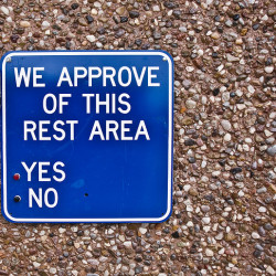 Rest area survey. Photo by Nate Bolt.