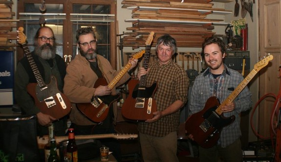 A group of local male guitarists and their Telecasters