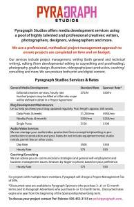 Pyragraph Studios Services & Rates - Pyragraph