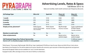 Pyragraph Advertising Rates Fall/Winter 2015-16