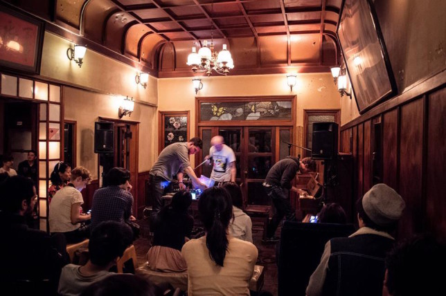 Playing in a ryokan, a traditional Japanese hotel. Photo courtesy of Jeremy Young.