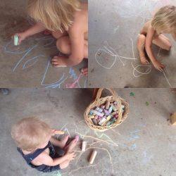 Kids drawing with chalk. Photo by Danila Rumold - Pyragraph