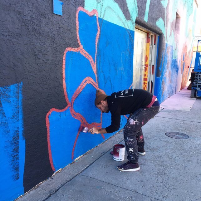 Pastel creating mural; photo by Valerie Roybal - Pyragraph