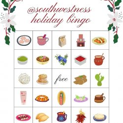 Southwestness Holiday Bingo card designed by Samantha Anne Carillo - Pyragraph
