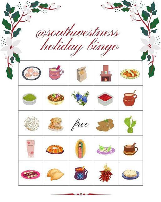 Southwestness Holiday Bingo card designed by Samantha Anne Carillo - Pyragraph