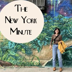Phoebe in front of a Manhattan mural